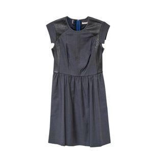 Rebecca taylor black leather trim dress size 2